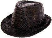 Trilby hoed metallic zwart met glitters
