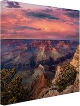 Zonsondergang Grand Canyon Canvas 120x80 cm - Foto print op Canvas schilderij (Wanddecoratie woonkamer / slaapkamer)