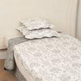 Clayre & Eef Bedsprei 140x220 grijs wit