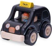 Houten speelgoedvoertuig Taxi zwart