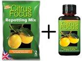 2 Liter Citrus Focus Repotting Mix + 300ml Citrus Focus vloeibare meststof   Gebalanceerde compost & Perfect samengestelde voeding voor gezonde citrusbomen