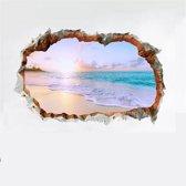 Strand 3D Sticker Wanddecoratie - Mooie Beach Muur Decoratie - Klevend 55cm x 35cm