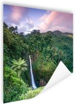Waterval bij zonsondergang Poster 120x80 cm - Foto print op Poster (wanddecoratie woonkamer / slaapkamer)