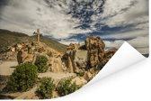 Het berglandschap gevuld met rotsen onder een prachtig wolkenveld in Arequipa Poster 180x120 cm - Foto print op Poster (wanddecoratie woonkamer / slaapkamer) XXL / Groot formaat!