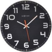 NeXtime Classy Round - Klok - Stil uurwerk - Rond - Glas - Ø30 cm - Zwart