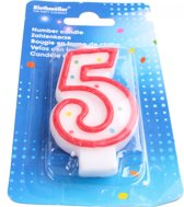 Amscan Verjaardagskaarsje Cijfer 5 Rood