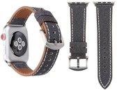Apple watch denim bandjes van By Qubix - 42mm / 44mm - Grijs - Leren bandje - Geschikt voor alle 42mm / 44mm apple watch series en Nike+ - Horloge lederen denim band - Eenvoudig te wisselen!