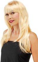 Pruik Lang Haar - Pony - Blond