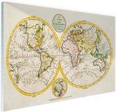 Antieke wereldkaart Glas 30x20 cm - klein - Foto print op Glas (Plexiglas wanddecoratie)