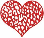 Rood leopard print hart - Hart autosticker - stikker in hartvorm - 13 x 15 cm - aut107