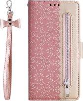 Portemonnee roze goud wallet book-case rits hoesje Samsung Galaxy A50 / A30s