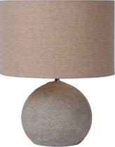 Lucide Boyd Tafellamp - Hoogte 28cm - Betonvoet grijs /Juten kap Taupe