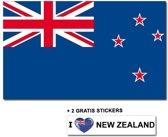 Nieuw Zeelandse vlag met 2 gratis Nieuw Zeeland stickers