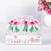 kaarsjes Flamingo kaars cupcake gebak 5 stuks