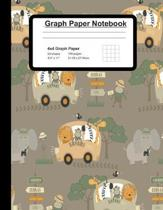 Graph Paper Notebook: Blank Quad Ruled Squared Graphing Paper With Cute Safari Cover