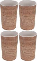 4x Melamine drinkbekers/mokken houtprint 11 cm - Campingservies/picknickservies