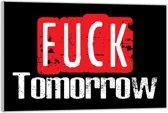 Plexiglas – Tekst: 'Fuck tomorrow'– 60x40cm (Wanddecoratie op Plexiglas)