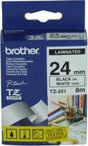Brother TZE251 Labelprinter-tape - Wit