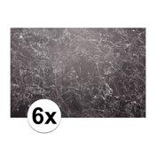 Placemats met zwarte marmeren opdruk - 6 st - kunststof - 46 x 30,5 cm