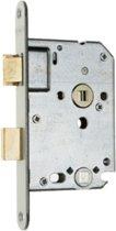 Nemef badkamerdeurslot 1264/5 rechts - Doornmaat 50mm - Messing voorplaat - Met sluitplaat