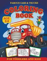 Famous Cars and Trucks Coloring Book for Toddlers and Kids Age 2-8
