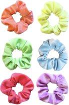 Scrunchies 6 stuks Velvet NEON - haarelastiekjes haarwokkel scrunchies - geel - paars - oranje - groen - roze - blauw - nieuwste collectie - Kraagjeskopen.nl
