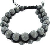 Frank 1967 7FB-0102 - Natuurstenen armband - twee rijen - rope en Jaspis steen 8 mm - one-size - grijs / zilverkleurig