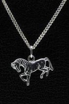 Zilveren Paard ketting hanger - vlak