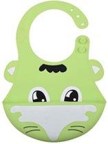 Siliconen slabbetje - baby slabber - Green - handige slabber - waterdichte baby slabbetjes - zachte slabber met opvangbakje - Unisex slabbers