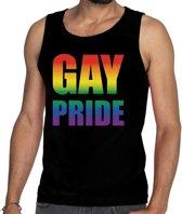 Gay pride tanktop / mouwloos shirt zwart met regenboog tekst voor heren -  Gay pride kleding 2XL