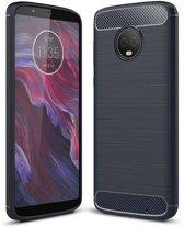 Motorola Moto G6 Plus hoesje - Rugged TPU Case - blauw