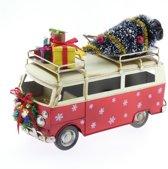 Kerstdecoraties - Metalen Bus Rood 25x12x18cm