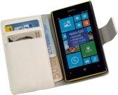 LELYCASE Book Case Flip Cover Wallet Hoesje Nokia Lumia 520 / Lumia 525 Wit