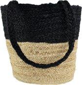 jute tas shopper zwart/naturel