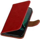 Premium TPU PU Leder bookstyle / book case/ wallet case voor Motorola Moto G4 Play Rood