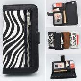 H.K. boekhoesje met zebra print + portemonnee geschikt voor Apple Iphone 5/5S/5SE