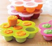 Zamba Babyvoeding bewaarbakjes | Bewaren moedermelk | Cupcake Cakevorm | Borstvoeding | BPA vrij | Siliconen diepvriesbakjes | Groen
