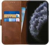 Rosso Deluxe Apple iPhone 11 Pro Max Hoesje Echt Leer Book Case Bruin