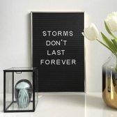Letterbord premium 30x45cm - inclusief 144 letters & cijfers - Goudkleurige rand - Aluminium frame