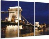 Glasschilderij Brug | Blauw, Wit | 120x80cm 3Luik | Foto print op Glas |  F001130
