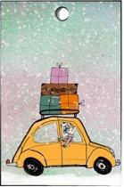 cadeaukaartje auto - cadeautjes - kerst - kerstcadeau - set van 15 minikaartjeskaartje