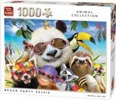 King Puzzel 1000 Stukjes (68 x 49 cm) - Beach Party Selfie - Legpuzzel Dieren