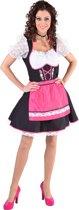 Zwarte dirndl jurk met roze schort en edelweiss - Oktoberfest kleding dames maat 50/52 (XXL)