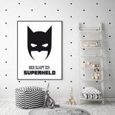 Kinderkamer poster - superheld- zwart wit - tekst poster - hier slaapt een superheld - A4