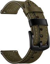 SmartphoneClip Leren bandje - Samsung Galaxy Watch (46mm) - groen/zwart