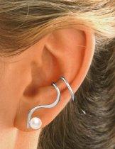 EarCatchers ear cuff met parel – gerhodineerd sterling zilver - Krul set