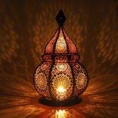 Gadgy Oosterse Lantaarn – Oosterse Tafellamp Hanglamp – Sfeerlicht geschikt voor Kaarsen en Electrische verlichting – 36 cm - Zwart Metaal - Windlicht
