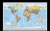 Wereldkaart  poster inclusief houten wissellijst (65x96.5cm)
