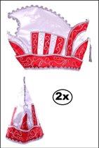 2x Prinsenmuts rood/wit mt 63