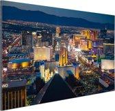 Luchtfoto verlicht stadsbeeld Las Vegas Aluminium 90x60 cm - Foto print op Aluminium (metaal wanddecoratie)